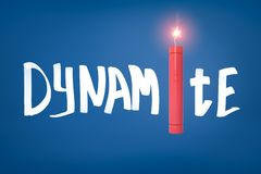 3d rendering of the title `DYNAMITE` with a lit dynamite stick instead of the letter I. stock image