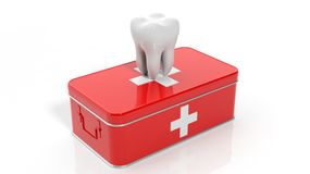 3D rendering of tooth and first aid kit. On white background Royalty Free Stock Photos