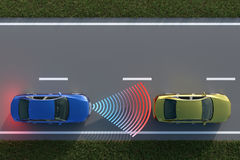 3D rendering from a top view of a car collision avoidance system Stock Images