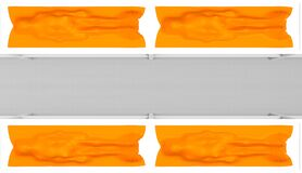 3d rendering. Top view of dead Human body covered by orange plastic bag on rack on gray room. People die from covid-19.