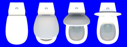 3d rendering top view of a set of toilet seat isolated on a blue Stock Photo