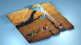 3d rendering topography with cubes.  Royalty Free Stock Photography
