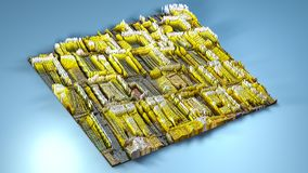 3d rendering topography with cubes.  Stock Photography