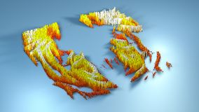 3d rendering topography with cubes.  Stock Photo