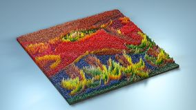 3d rendering topography with cubes.  Stock Image
