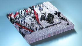 3d rendering topography with cubes.  Royalty Free Stock Photos