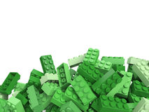 3D rendering of toy building bricks in green shades with lots of royalty free illustration