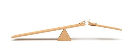 3d rendering trójboka seesaw robić lekki drewno z łamaną deską na białym tle Zdjęcie Stock