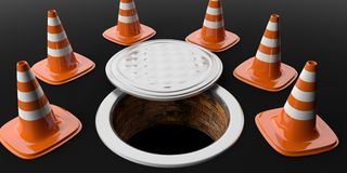 3d rendering traffic cones and manhole Royalty Free Stock Photography