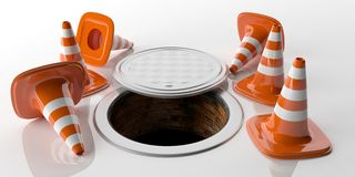 3d rendering traffic cones and manhole Stock Photos