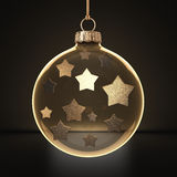 3D rendering transparent Christmas ball. S on a dark background with stars inside Royalty Free Stock Image