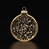 3D rendering transparent Christmas ball. S on a dark background with stars inside Stock Photo