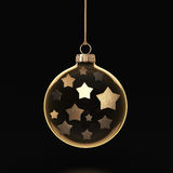 3D rendering transparent Christmas ball. S on a dark background with stars inside Stock Images