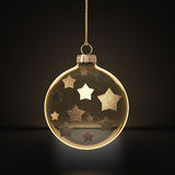 3D rendering transparent Christmas ball. S on a dark background with stars inside Royalty Free Stock Images