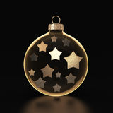 3D rendering transparent Christmas ball. S on a dark background with stars inside Stock Photography