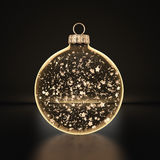3D rendering transparent Christmas ball. S on a dark background with stars inside Royalty Free Stock Photos
