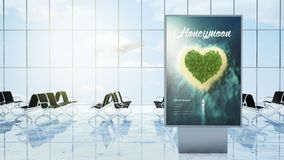 Travel advertising on airport lounge. 3d rendering of travel advertising on airport lounge Royalty Free Stock Photos