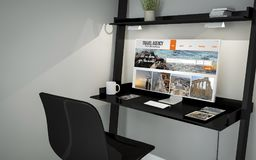 Shelve desktop online travel agency. 3d rendering of travel agency on desktop in a shelves Stock Images