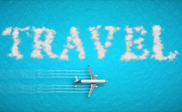 3D rendering, travel concept written on tropical caribbean sea with tourism airplane fly near it holiday, abstract travel concept Royalty Free Stock Photography