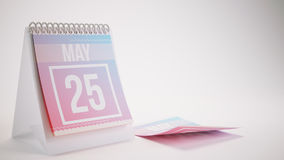 3D Rendering Trendy Colors Calendar - may 25. 3D Rendering Trendy Colors Calendar on White Background - may 25 Royalty Free Stock Photography