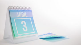 3D Rendering Trendy Colors Calendar on White Background - april. 3 Royalty Free Stock Photo