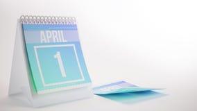 3D Rendering Trendy Colors Calendar on White Background - april. 1 Stock Photos