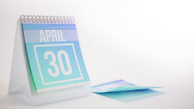 3D Rendering Trendy Colors Calendar on White Background - april. 30 Royalty Free Stock Images
