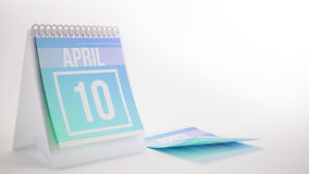 3D Rendering Trendy Colors Calendar on White Background - april. 10 Stock Images