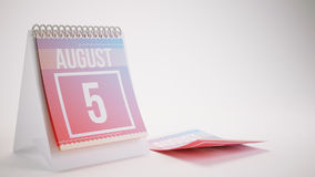3D Rendering Trendy Colors Calendar on White Background - august. 5 Royalty Free Stock Images