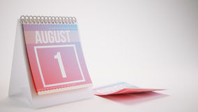 3D Rendering Trendy Colors Calendar on White Background - august. 1 Stock Photo