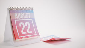 3D Rendering Trendy Colors Calendar on White Background - august Royalty Free Stock Image