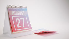 3D Rendering Trendy Colors Calendar on White Background - august Royalty Free Stock Images