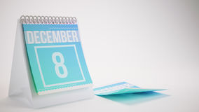 3D Rendering Trendy Colors Calendar on White Background. December 8 Royalty Free Stock Photos