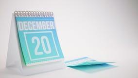 3D Rendering Trendy Colors Calendar on White Background. December 20 Stock Images