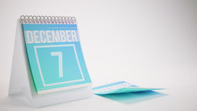 3D Rendering Trendy Colors Calendar on White Background. December 7 Royalty Free Stock Photo