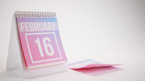 3D Rendering Trendy Colors Calendar on White Background. February 16 Stock Photography