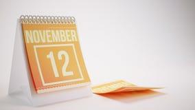 3D Rendering Trendy Colors Calendar on White Background - novemb Stock Photos