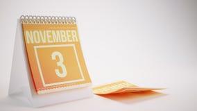 3D Rendering Trendy Colors Calendar on White Background - novemb. Er Stock Photography