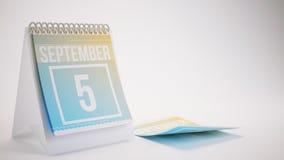 3D Rendering Trendy Colors Calendar on White Background - septem Stock Photo