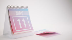 3D Rendering Trendy Colors Calendar on White - may 11 Royalty Free Stock Photography