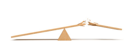 3d rendering of a triangle seesaw made of light wood with a broken plank on white background. Royalty Free Stock Photo