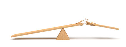 3d rendering of a triangle seesaw made of light wood with a broken plank on white background. Playground equipment. Heavy weight. Work and leisure misbalance Stock Photo