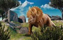Dinosuar 3D Rendering. 3D rendering of Triceratops. 3D Photo Royalty Free Stock Photos
