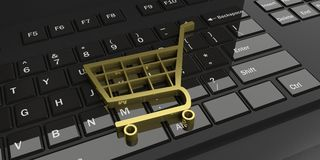 3d rendering trolley on a black keyboard. 3d rendering golden trolley on a black keyboard Royalty Free Stock Images