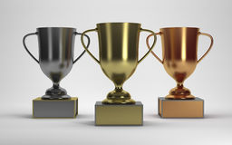 3D Rendering Trophies on white background Royalty Free Stock Image