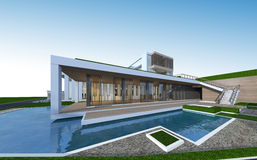 3D rendering of tropical house with clipping path. Royalty Free Stock Photo