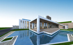 3D rendering of tropical house with clipping path. Royalty Free Stock Photography