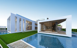 3D rendering of tropical house with clipping path. Stock Photos