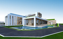 3D rendering of tropical house with clipping path. Stock Image