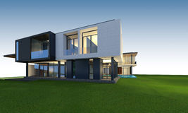 3D rendering of tropical house with clipping path. Royalty Free Stock Image